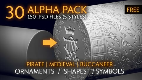 (FREE) Alpha Pack - VOL.1 Ornaments & Shapes - Pirate / Medieval / Buccaneer Theme | Alpha Textures | ZBRUSH, BLENDER, SUBSTANCE Alpha Textures