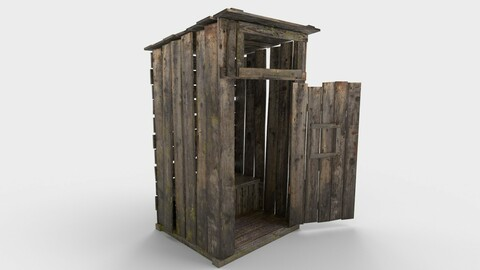 Old Wooden Outdoor Country Toilet PBR