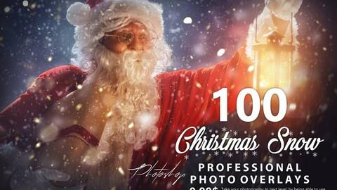100 Christmas Snow Photo Overlays