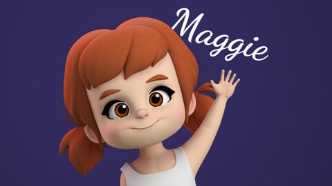 Maggie Stylised Girl Kid Cartoon Character