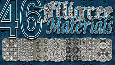 46 Filigree Seamless Tileable Ornamental Pattern Materials For Substance Painter