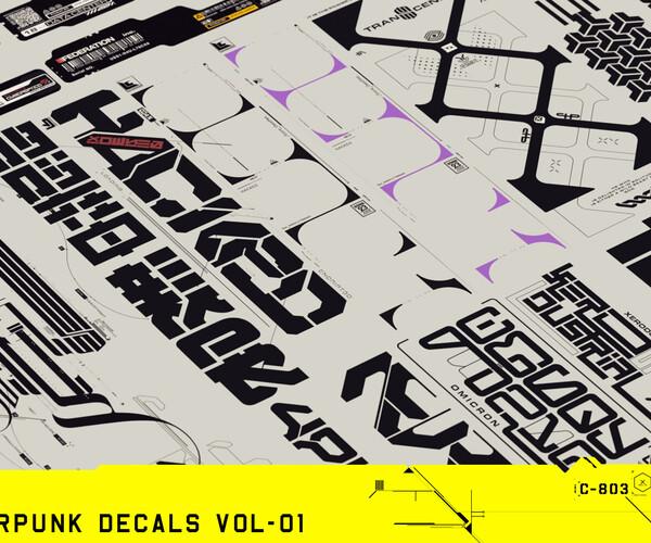 ArtStation - 247 Cyberpunk Decals Vol-01 | Resources