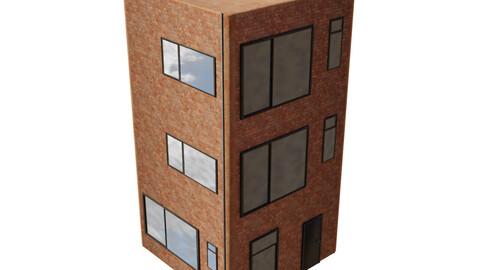 Brick Apartment building 3 storeys Low-poly 3D model