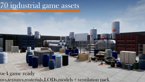70 industrial game assets.gameready,fbx,textures