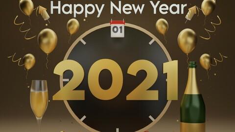 3D Illustration - Happy new year 2021
