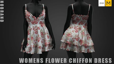 Womens - Flower Chiffon Dress
