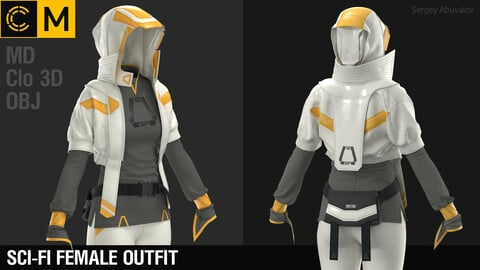 Fci-fi female outfit / Marvelous Designer / Clo 3D project + obj