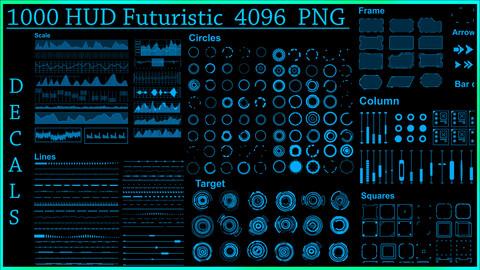 1000 HUD Futuristic DeCals PNG
