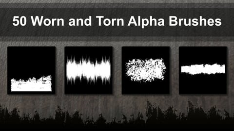 50 Alpha Brushes - Worn and Torn Edges