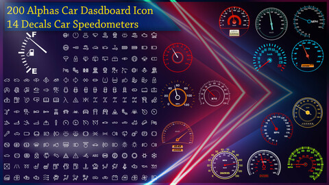 200 Alphas Icon Car DashBoard - 14 Decals PNG Car Speedometers