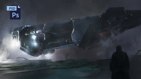 PSD + OBJ Sci-Fi Spaceship