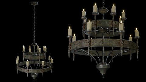 Medieval Candle Chandelier A - PBR Lowpoly Model