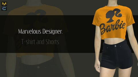 Female Outfit , T-shirt and Shorts - Marvelous Designer & CLO3d Projects