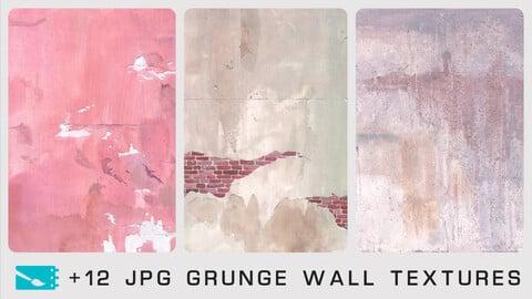 GRUNGE WALL TEXTURES - Traditional painting pack - 12 JPG & 1 bonus PSD