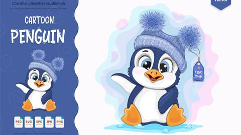 Cute cartoon penguin.