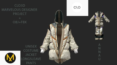 UNISEX COSTUME: JACKET+LONGSLEAVE+PANTS| CLO3D, MARVELOUS DESIGNER PROJECT| +OBJ+FBX