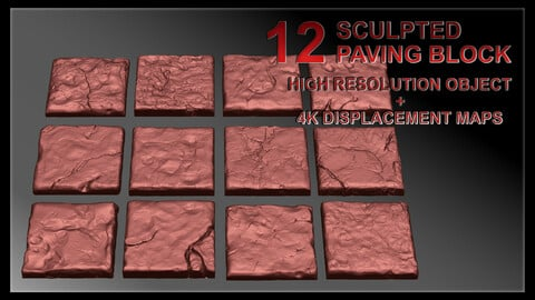 12 Paving Stone - Sculpted high resolution + displacement maps