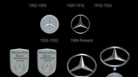 Mercedes Benz Logo, Set From 1902 to 2021, and keychain Mercedes AMG Club, File STL for all 3d Printer