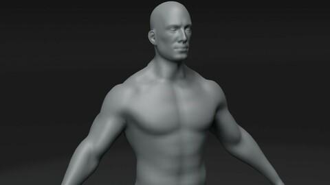 Male Body Base Mesh 3D Model 10k Polygons