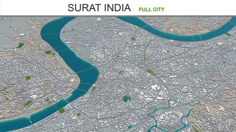 Surat city India 3d model 40km