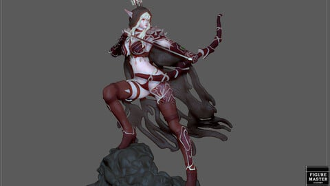 SYLVANAS WINDRUNNER WARCRAFT WOW FEMALE DARK ELF SEXY GIRL ARCHER 3D PRINT MODEL