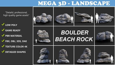 Low poly Gray Boulder Beach Rock Collection 210106