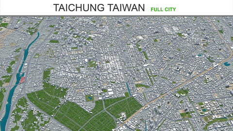 Taichung city Taiwan 3d model 120km