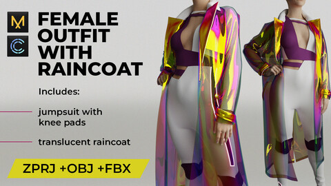 Female outfit with raincoat