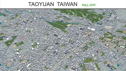 Taoyuan city Taiwan 3d model 120km