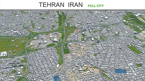 Tehran city Iran 3d model 60km