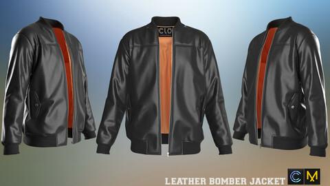 LEATHER BOMBER JACKET, marvelous designer,clo3d