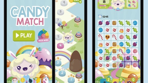 Candy Match 3 Game Assets Graphics
