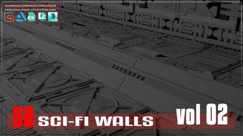 Sci-Fi walls KitBash Pack 50 vol 02