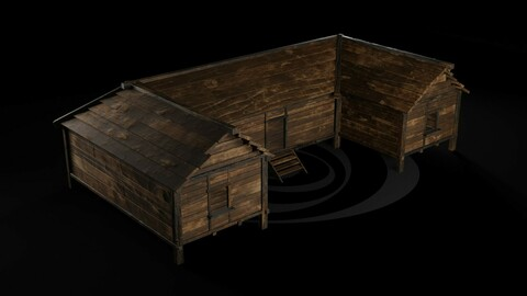 AAA Wooden Enterable Medieval Primal Thatched Cottage Hut 04 R