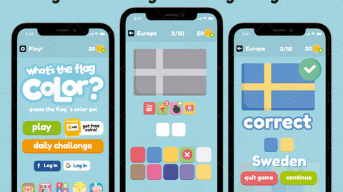 Guess the Flag Color Game Gui Assets