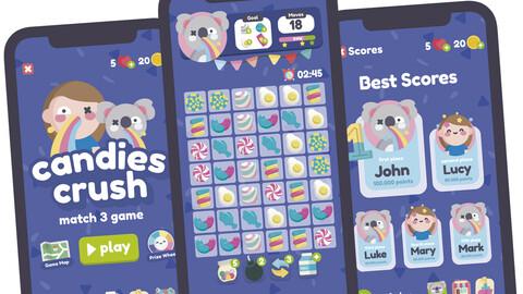 Candy Crush Match 3 Game Gui Assets