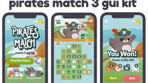 Pirates Sweet Match 3 Game Gui Asset