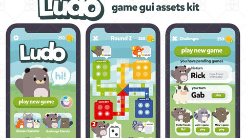 Animals Ludo Board Game Gui Assets
