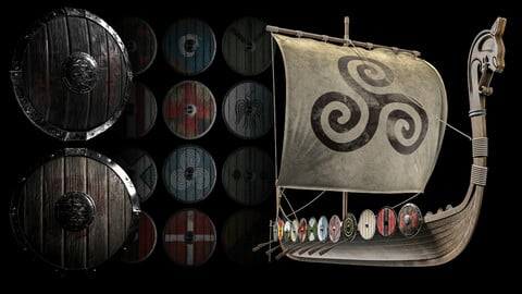 40 minutes texturing tutorial with the FBX king shield for training+ Viking warship highpoly model(ready for render) + 20 viking shield