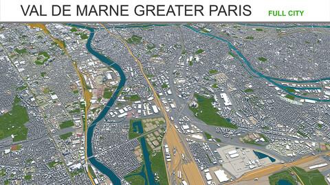Val De Marne city Greater Paris 3d model 30km