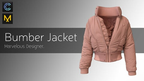 Bumber Jacket- cyberpunk jacket- Marvelous Designer & CLO3d Projects + OBJ