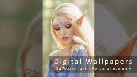 Elf Princess with Bird - Digital Wallpapers