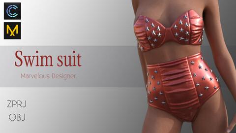 Swimsuit -swimwear-bikini-bra-Marvelous designer-CLO3d Project+ OBJ