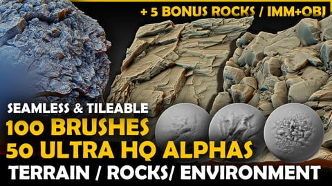Ultra HQ Terrain / Rock Seamless Sculpt Zbrush brushes + Alphas (Blender, Substance, Mudbox, etc.)