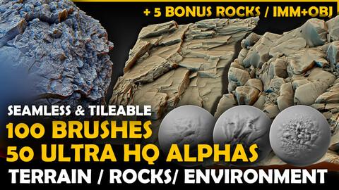Ultra HQ Terrain / Rock Seamless Sculpt Zbrush brushes + Alphas (Blender, Substance, Mudbox, etc.)