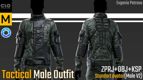 Male tactical outfit. Clo3d, Marvelous Designer project + Keyshot file
