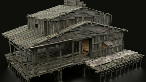 AAA SWAMP WETLAND FANTASY MEDIEVAL WOODEN HOUSE HUT TAVERN