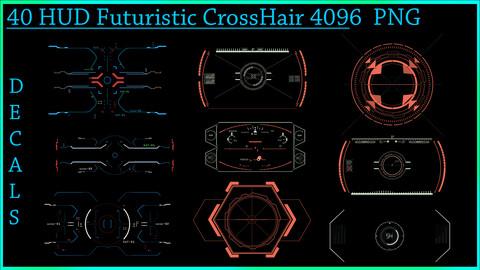40 HUD Futuristic - Scifi CrossHair - DeCals PNG