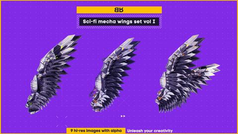 Sci-fi mecha wings image set vol. I