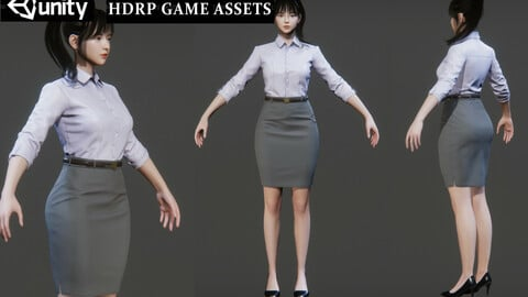 Female S Suit Game Assests Bussiness Suit Working Suit